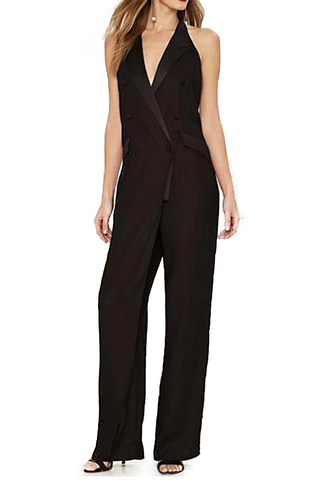 Nasty Gal In the Evening Black Tuxedo Jumpsuit