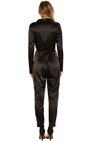 Nasty Gal Satin Plunging Jumpsuit
