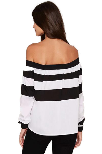 Down The Line White with Black Striped Top