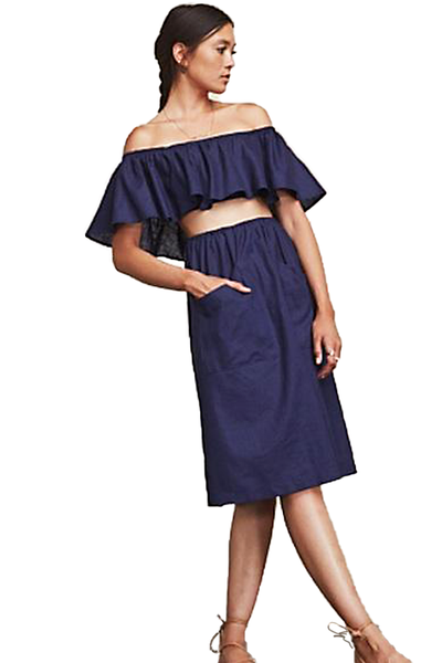 Reformation Tulum Navy Two-Piece Ruffle Top & Midi Skirt Set