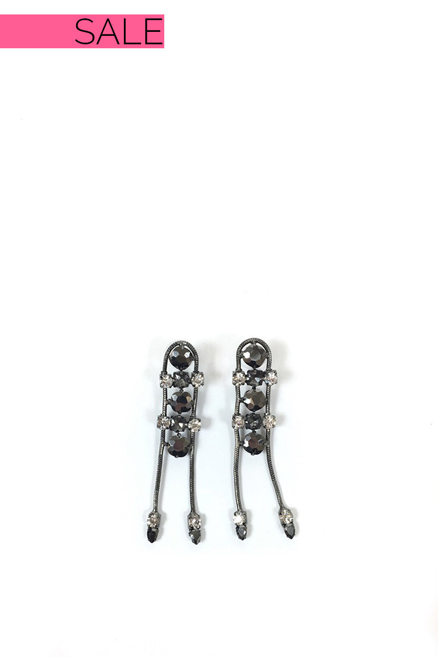 Peace Train Gunmetal Rhinestone Earrings
