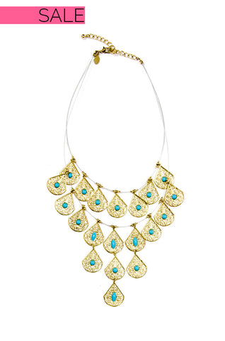 Gold and Turquoise Teardrop Necklace