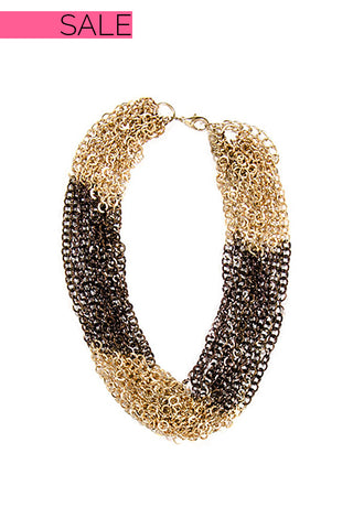 Gold and Brown Multi Chain Necklace