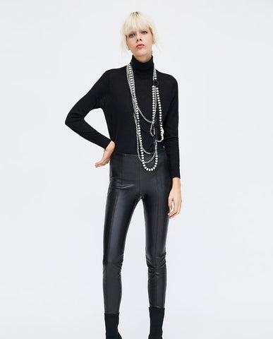 Zara Trafaluc Collection High Waist Black Faux Leather Leggings