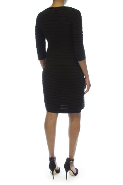 Adrianna Papell Black DressADRIANNA PAPELL SHUTTER PLEAT JERSEY BLACK SHEATH DRESS