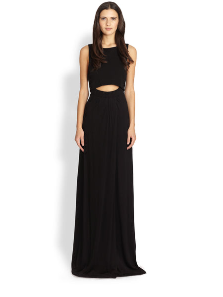 A.L.C. Hillset Black Cut Out Slit Maxi Dress