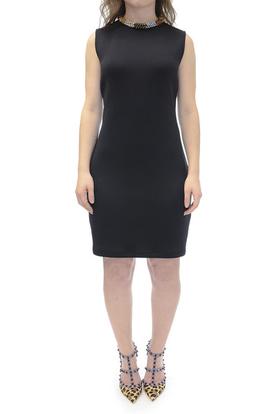 Alexander McQueen Embellished Crystal Neck Neoprene Dress