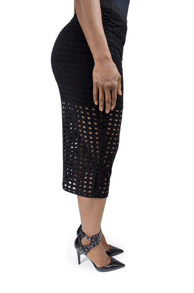Alexander Wang Black Pierced Midi Skirt