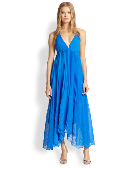"Alice + Olivia ""Adalyn"" Blue Pleated Maxi Dress"
