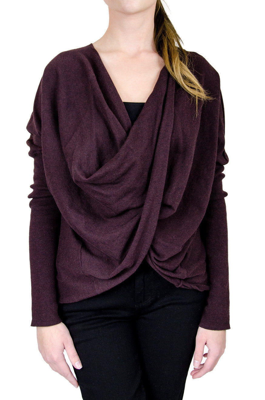 All Saints Burgundy Wrap Top