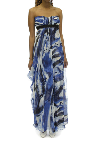 BCBGMaxazira Watercolor Silk Draped Strapless Gown