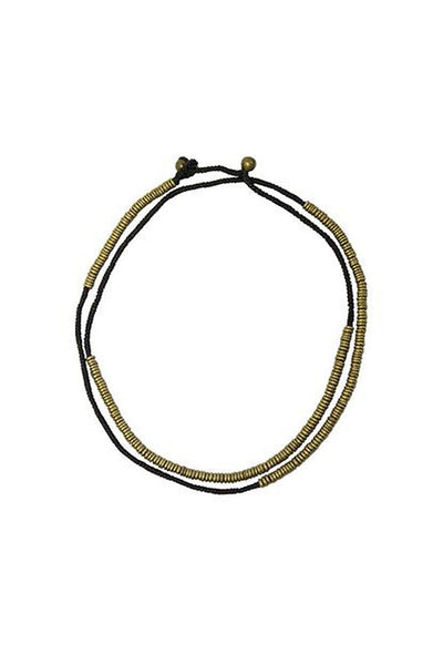 Black and Brass Ring Necklace