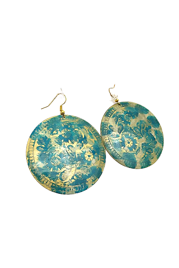 Printed Circular Blue & Gold Earrings