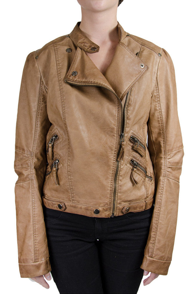 Blu Pepper Moto Cognac Leather Jacket