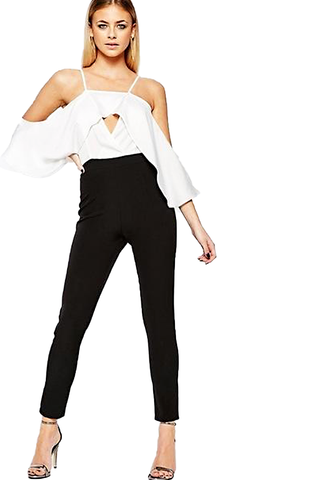 "BooHoo ""Alice"" Cut Away Shoulder Frill Jumpsuit"