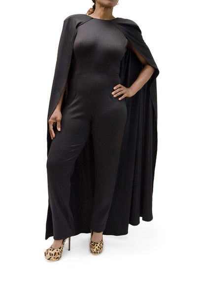 Boutique Brand Black Jumpsuit with Cape