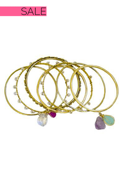 Gold Multi Design Detail Stone Bangles