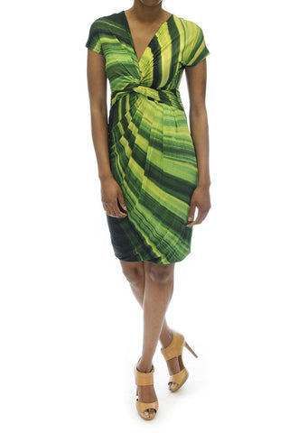 Max Mara Green Arak Knot Front Jersey Dress
