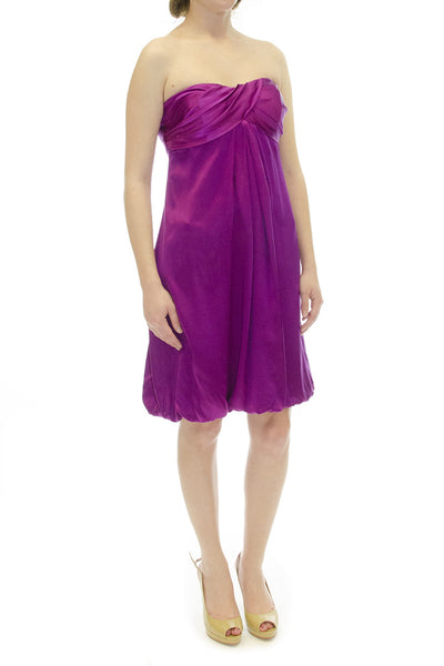 Cache Satin Purple Sweetheart Cocktail Dress