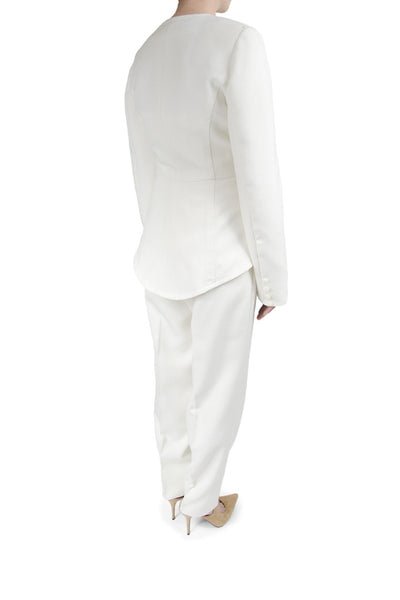 Caroline Hayden Ivory Pant Suit with Silk Draped Bustier