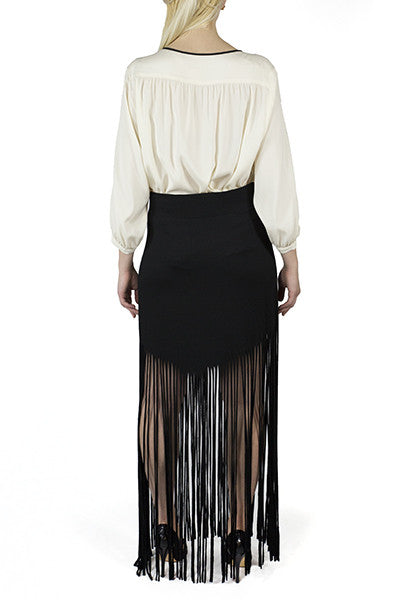 Danielle Forte Collection Black Fringe Skirt