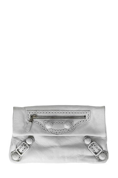 Balenciaga White Giant Envelope Clutch Bag with Studs