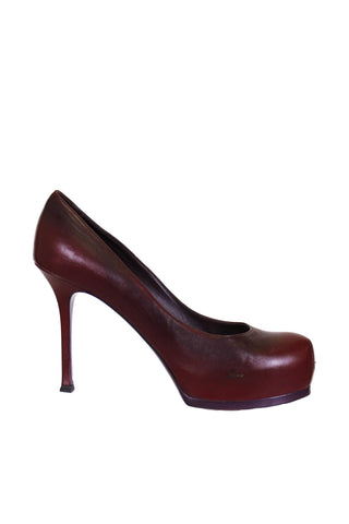 Yves Saint Laurent Tribtoo Pumps Maroon Leather Pump