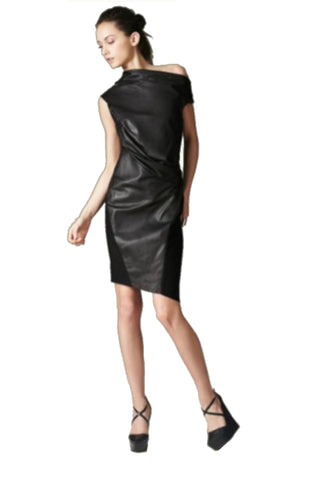 Helmut Lang Lambskin Black Off The Shoulder Dress