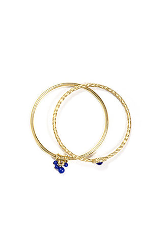 Gold Bangles with Blue Bead Accents