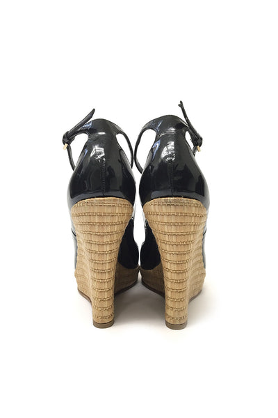Gucci Black Peep Toe Wedges with Toggle