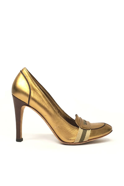 Gucci Gold Penny Loafer Block Heels