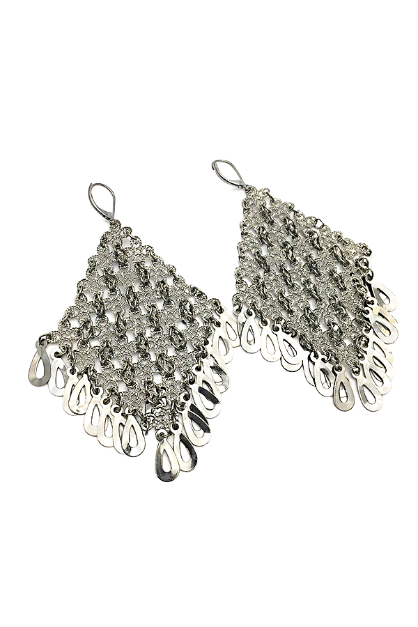 Gunmetal Diamond-Shaped Statement Earrings