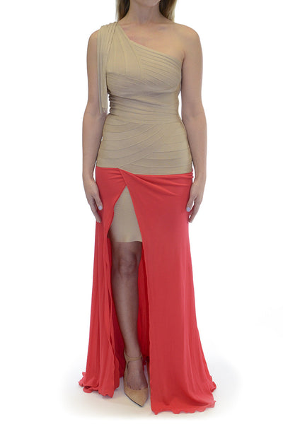 Herve Leger Bandage One Shoulder Gown with Fringe