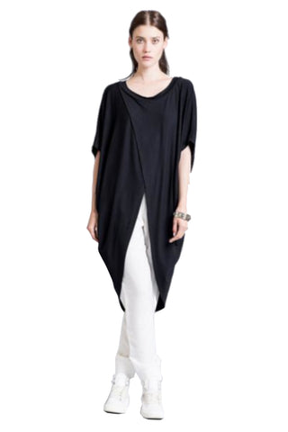 Marcellamoda Black Short Sleeve Asymmetric Tunic
