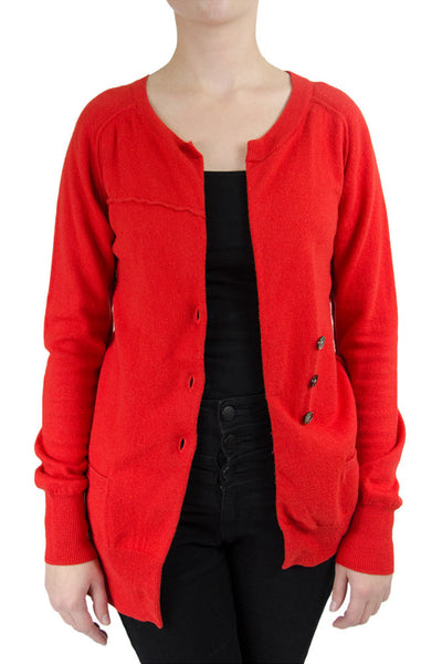 Isabel Marant Red 'Tayler' Asymmetrical Cardigan
