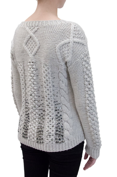 J.Crew Grey Wool Sweater with Mirrored Stone Accents