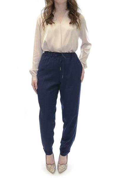 Joie Navy Draw String Linen Pants