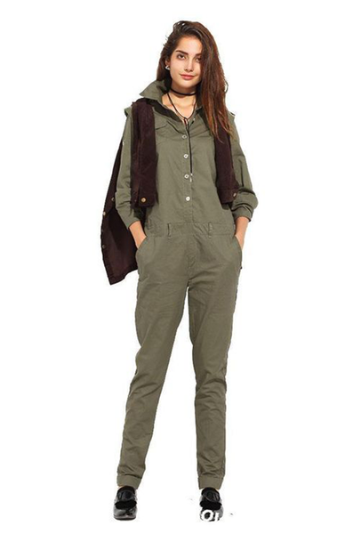 Haoduoyi Olive Green Long Sleeve Jumpsuit