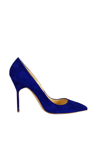 Manolo Blahnik BB Suede Pointed-Toe Pump, Blue