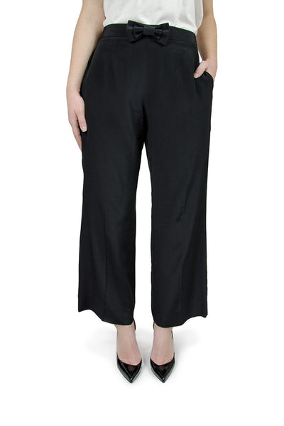 Miu Miu Cropped Black Silk Bow Pants
