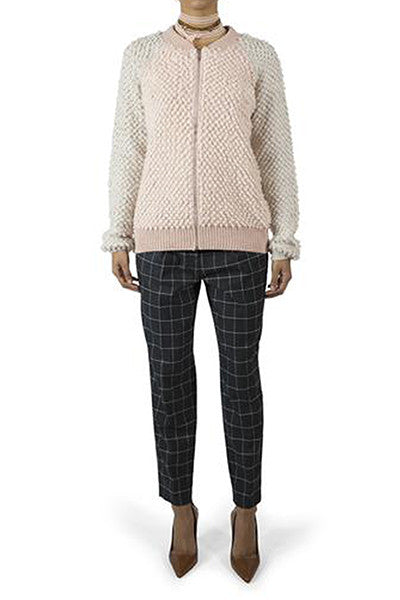 Trouvé Windowpane-Check Cropped Trousers