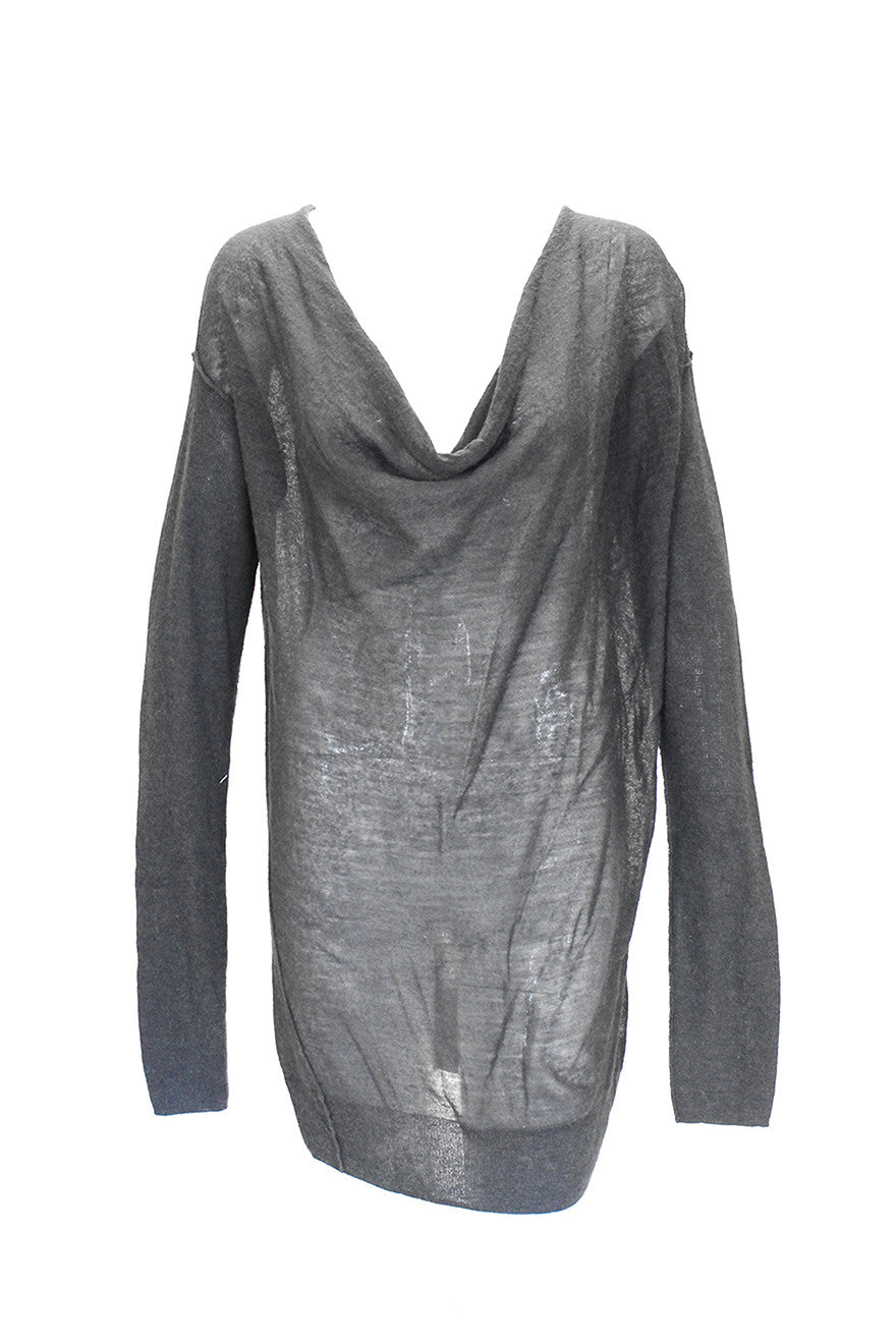 Donna Karan Charcoal Grey Cowl Sweater
