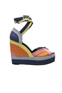 Pierre Hardy Color-block canvas wedge sandals
