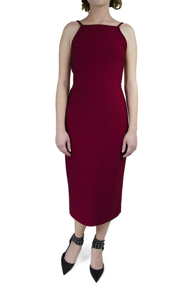 Oh My Love London Midi Strap Back Bodycon Merlot Dress