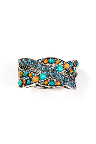 Pewter Cuff with Brown and Turquoise Gems