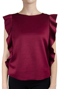 Saks RED Burgundy Flutter Sleeve Blouse