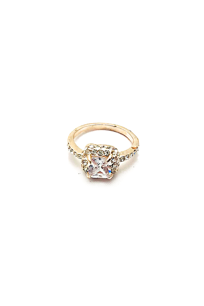 Everly Rose Gold Sqaure-Cut Halo Ring