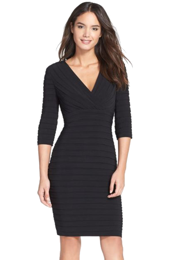 446d9cc3c631 Adrianna Papell Shutter Pleat Jersey Black Sheath Dress – One Posh ...