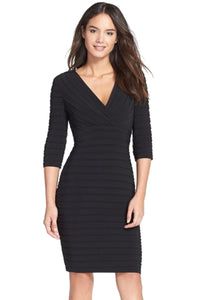 ADRIANNA PAPELL SHUTTER PLEAT JERSEY BLACK SHEATH DRESS