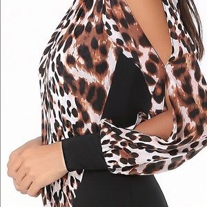 Bebe Cheetah Printed Wrap Bodysuit
